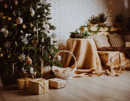 christmas tree decoration: Christmas tree and presents in decorated living room, Christmas and New Year