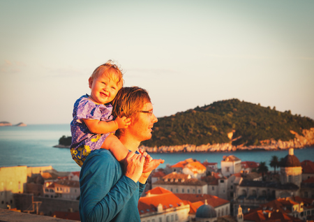dalmatia: young father and little daughter travel in Dubrovnik, Croatia Stock Photo