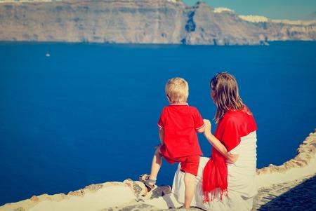 family on vacation in Santorini, Greece