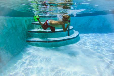 flippers: little boy swimming underwater