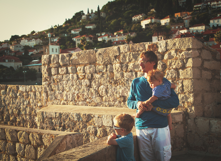 father with litte son and daughter travel in Dubrovnik, Croatia