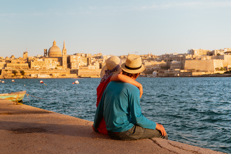 happy young couple travel in Malta, Europe