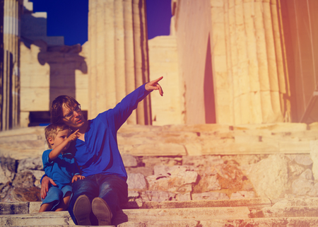 father and son travel in Acropolis, Athens, Greece Stock Photo