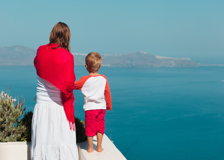 mother and little son travel in Santorini, Greece