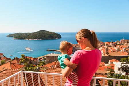 mother and baby looking at Dubrovnik, Croatia