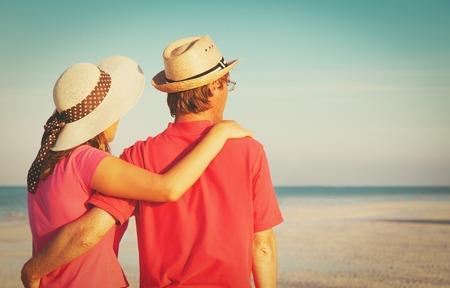 happy couple on a tropical beach