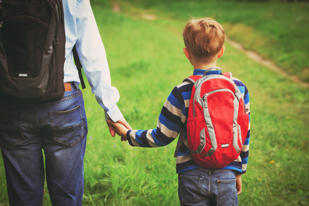 father walking son to school or daycare Reklamní fotografie