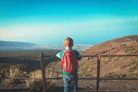 little boy looking at scenic view while travel