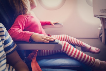 flight safety concept- little girl waiting to take off in plane Imagens - 86677750