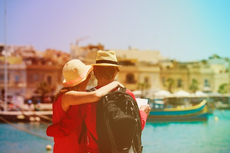 happy tourist couple in Malta, Europe