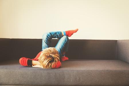 little boy relax at home- comfort and laziness Reklamní fotografie