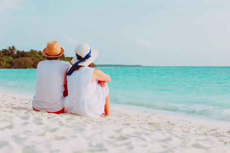happy loving couple on tropical beach Stock Photo