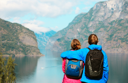 happy young couple travel in Norway Stock Photo