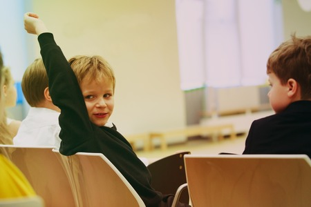 little boy raising hands in class or playgroup