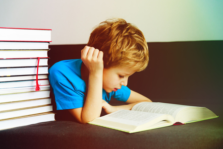 little boy reading books at home, learning Stock Photo - 94228349