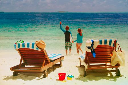 beach vacation - happy couple have fun at sea
