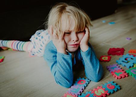 sad stressed little girl, despair