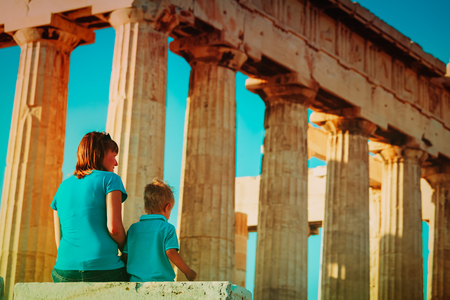 mother and son travel in Greece, lookint at ancient buildings Stock Photo