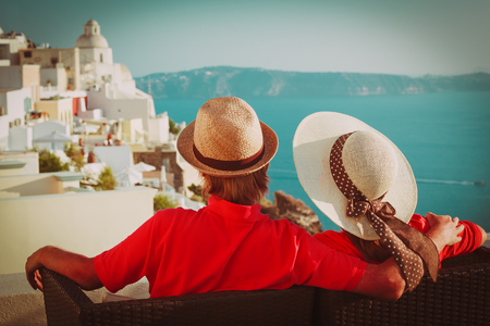 happy young couple on vacation in Greece Stock Photo