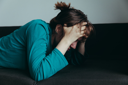 stressed woman, despair and depression Stock Photo