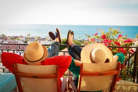 happy couple relax on balcony terrace 版權商用圖片