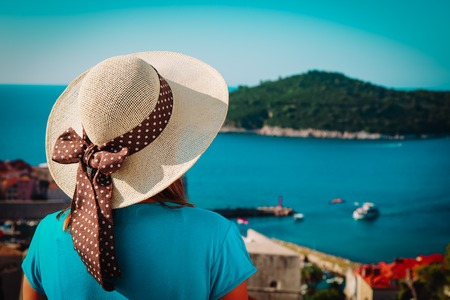 young woman travel in Croatia, looking at Dubrovnik Stock Photo