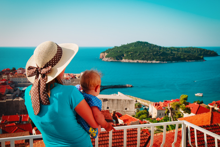 family travel -mother and baby looking at Dubrovnik, Croatia