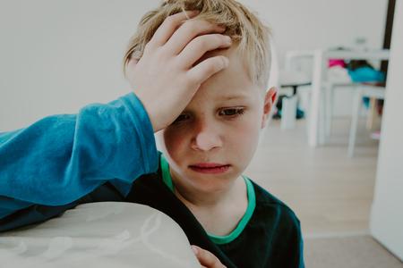 sad child, stress and depression at home