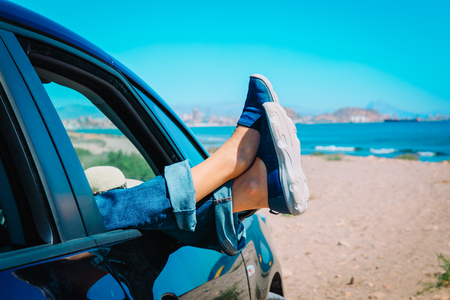 travel by car on beach concept, vacation at sea