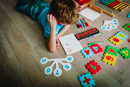 kids learning numbers, arithmetic, abacus calculation, counting