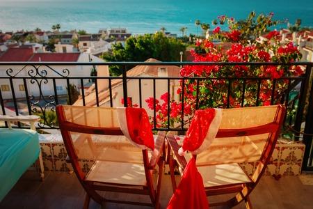Christmas celebration on balcony terrace with sea view 版權商用圖片