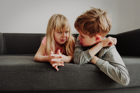 brother and sister rivalry, dispute, anger, disagreement Stock Photo