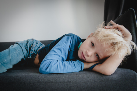 sad tired child stress and depression, overload, anxiety Banco de Imagens