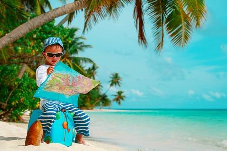little boy travel on tropical beach vacation Stock Photo