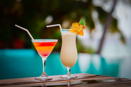 Two cocktails on luxury beach resort,luxury travel