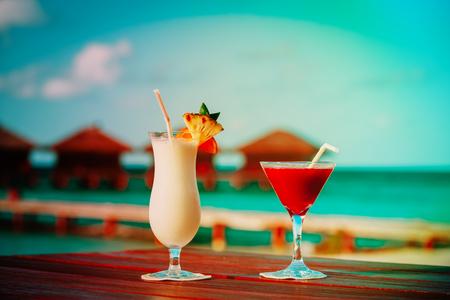 Two cocktails on luxury beach resort,luxury travel
