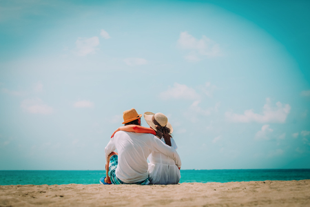 happy loving couple on tropical beach vacation Stock Photo