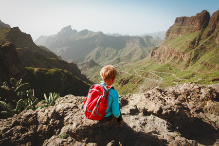 little boy hiking in mountains looking at view
