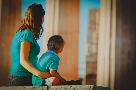 mother and son travel in Greece, looking at ancient buildings Stock Photo