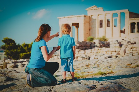 mother and son travel in Greece, looking at ancient buildings Reklamní fotografie