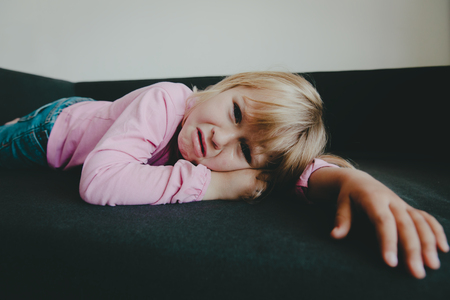 sad crying child, little girl stress, kids exhaustion Reklamní fotografie