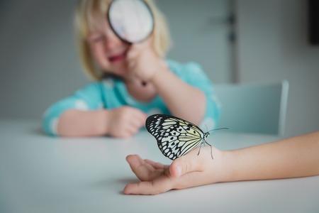 kids study batterflies, doing rearch project for school