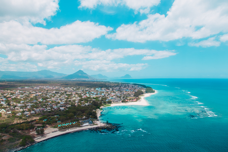 Aerial view of Mauritius taken during helicopter flight