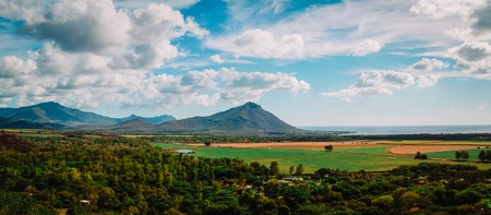 nature of Mauritius, landscape with mountains and fields, panorama