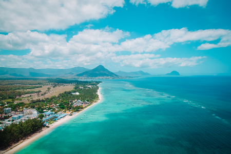 Aerial view of Mauritius with mountains on background, travel concept