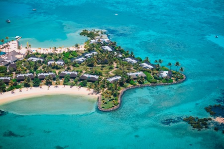 Luxury resort in Mauritius, tropical paradise, aerial view