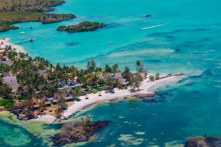 Luxury resort in Mauritius, aerial view taken during helicopter flight