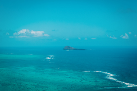 Aerial view of Mauritius, tropical paradise, taken during helicopter flight