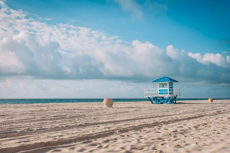tropical beach with lifeguard cabin, Florida, USA Reklamní fotografie