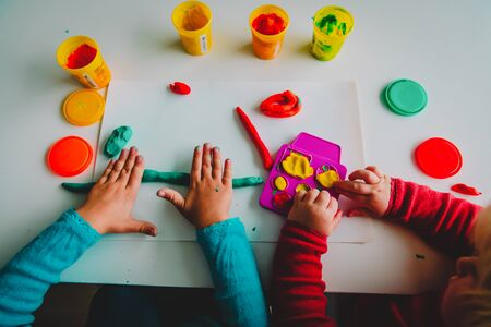 kids play with clay molding shapes, learning and play